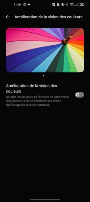 Amélioration des couleurs sur ColorOS 12