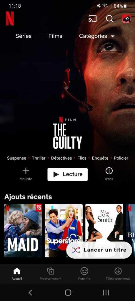 """Netflix déploie """"Lancer un titre"""" sur Android // Source : Frandroid"""