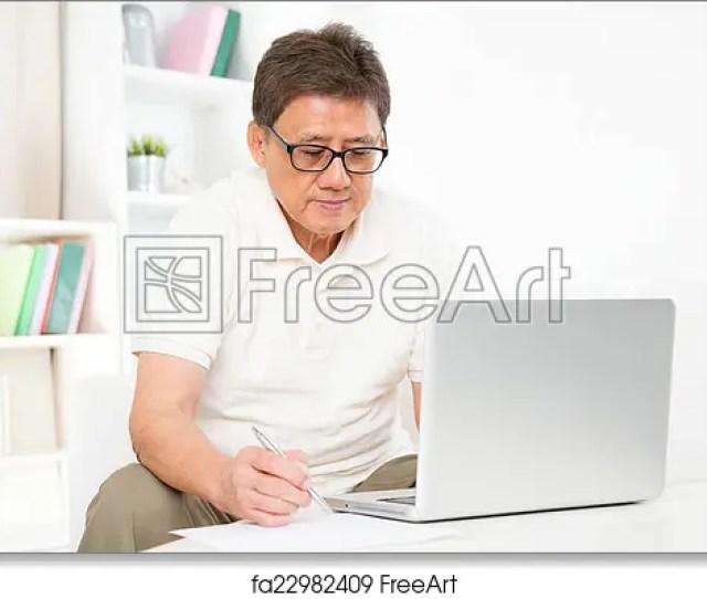 Free Art Print Of Mature Asian Man Using Computer