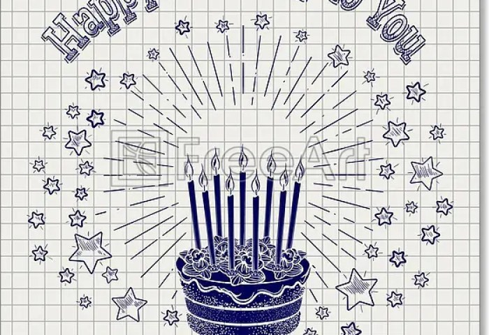 Free Art Print Of Ball Pen Sketch Birthday Cake Ball Pen Sketch