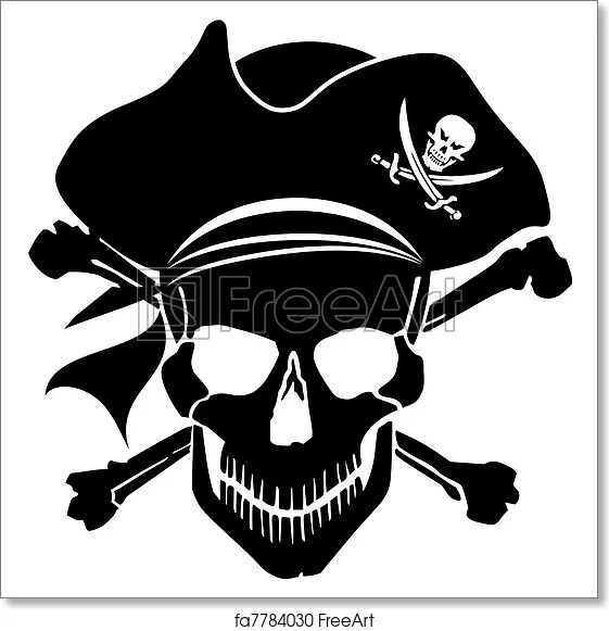 Free Art Print Of Pirate Skull Captain With Hat And Cross Bones Pirate Skull Captain With Hat And Cross Bones Clipart Illustration Freeart Fa7784030