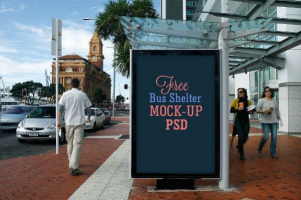 2 Free Bus Shelter Side Panel Outdoor Advertising Mockup PSD