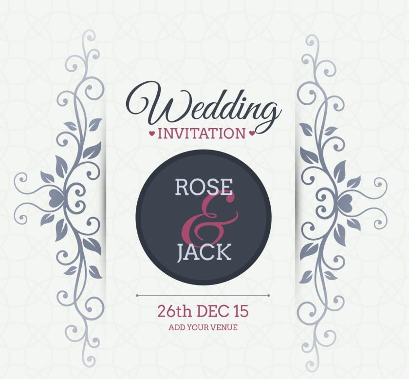 Free Vector Fl Wedding Invitation Card Background Design