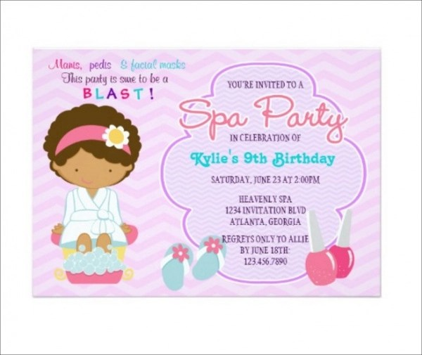 beautiful spa party invitations