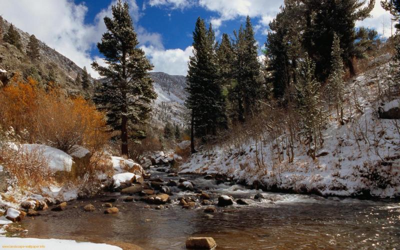 HD Mountain Stream In Winter Wallpaper Download Free 52623