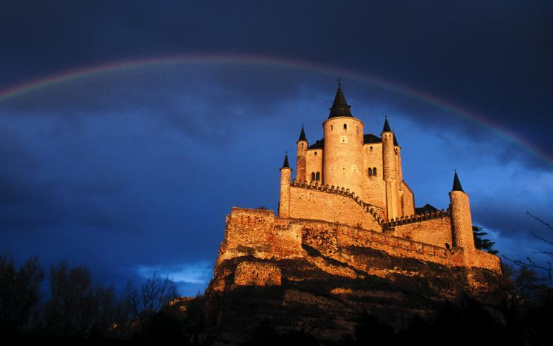 HD Rainbow Over Castle On A Cliff Wallpaper Download