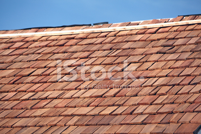 New Red Cedar Shake Roof Stock Photos