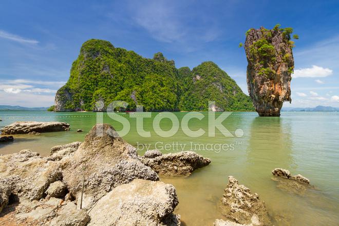 Ko Tapu Rock On James Bond Island Stock Photos