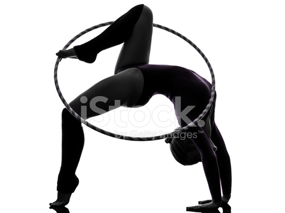 Rhythmic Gymnastics With Hula Hoop Woman Silhouette Stock