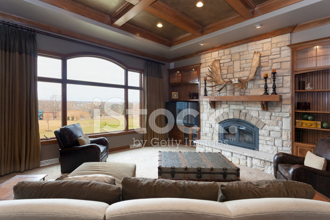 Casual Living Room With Brick Fireplace and Detailed ... on Fireplace Casual Living id=40072