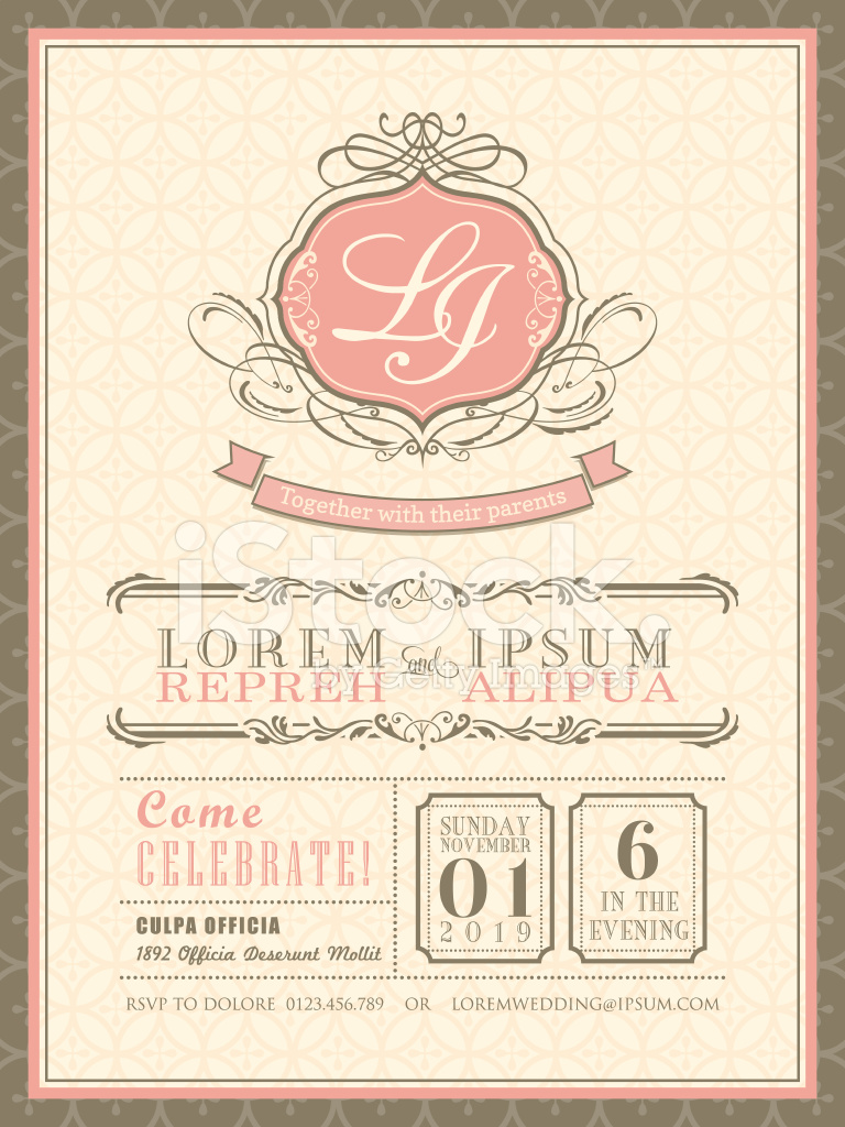 vintage pastel wedding invitation card