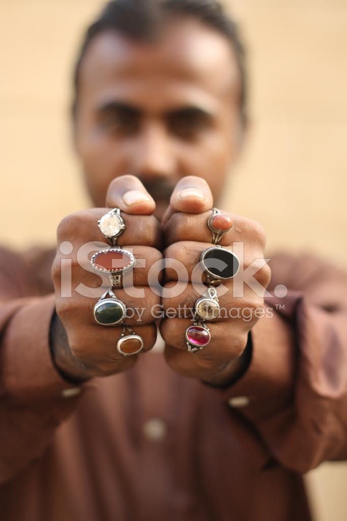 Pakistani Man With Rings Stock Photos