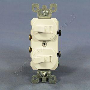 New Leviton White Double Wall Light Switch Duplex Toggle