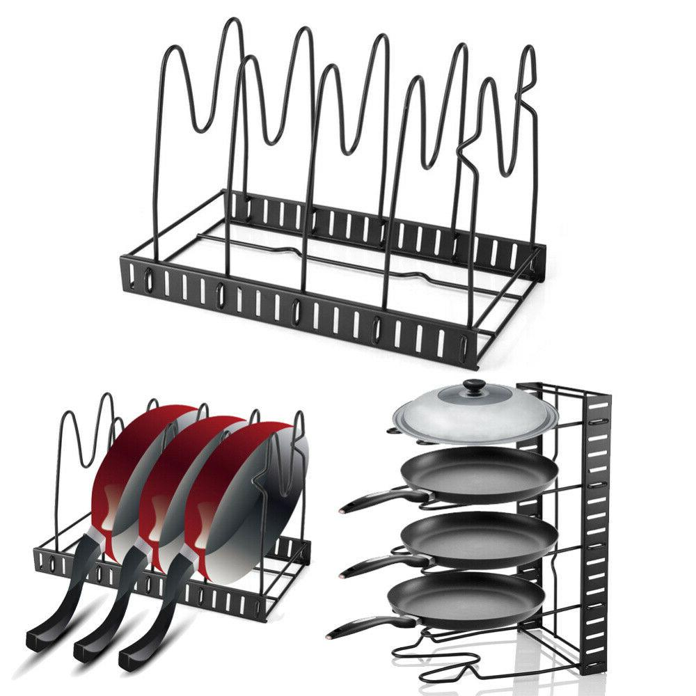 adjustable pot frying pan lid storage rack organizer standing storage shelf kitchen cookware stand holder 5