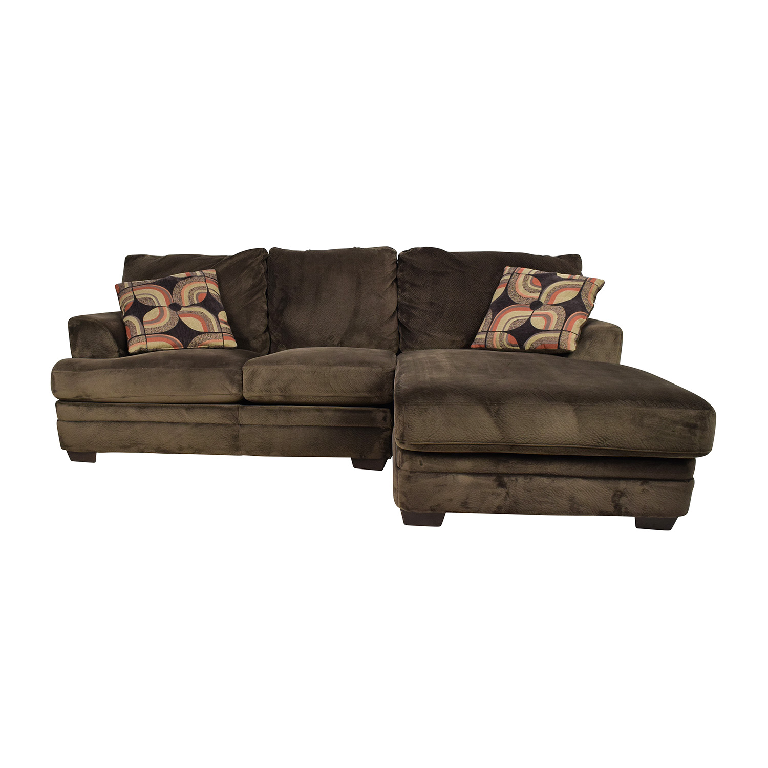60 Off Brown Corduroy L Shaped Sectional Couch Sofas  sc 1 st  Centerfieldbar.com : bobs sectionals - Sectionals, Sofas & Couches