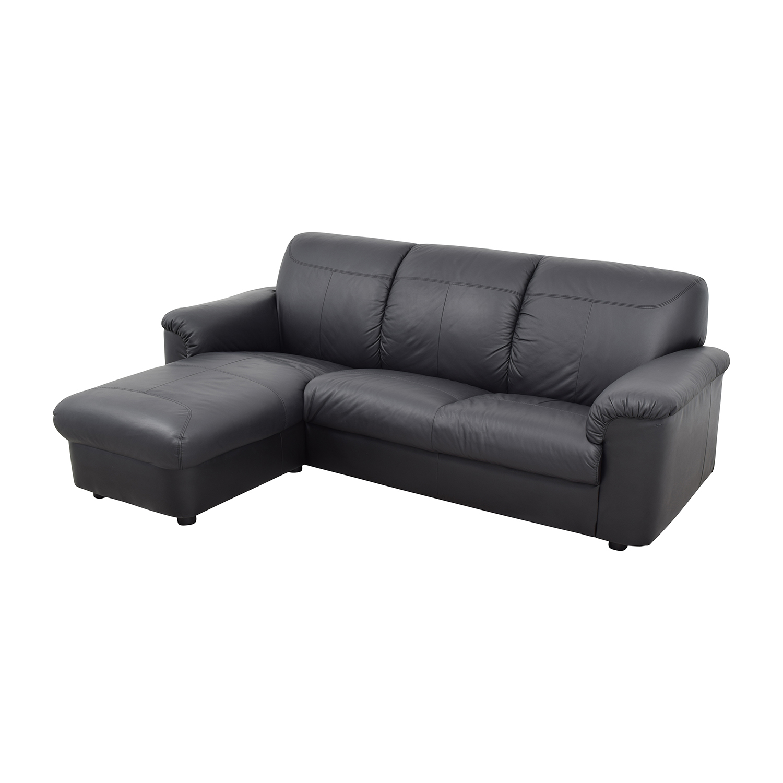 41 Off Ikea Ikea Black 3 Piece Leather Sectional Sofas