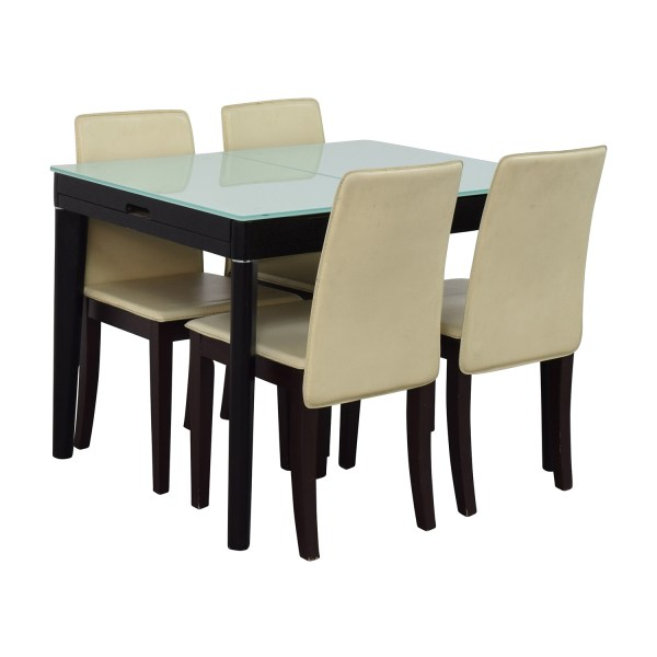 87% OFF - Expandable Glass and Wood Dining Set / Tables