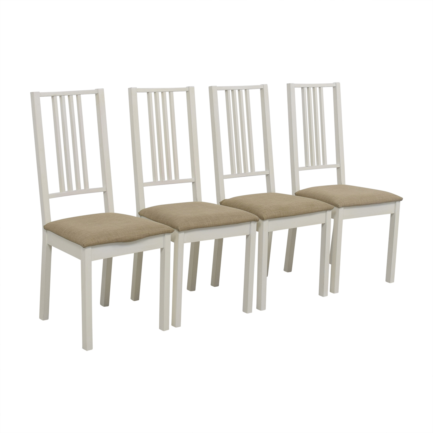82 OFF IKEA IKEA White With Tan Upholstered Dining
