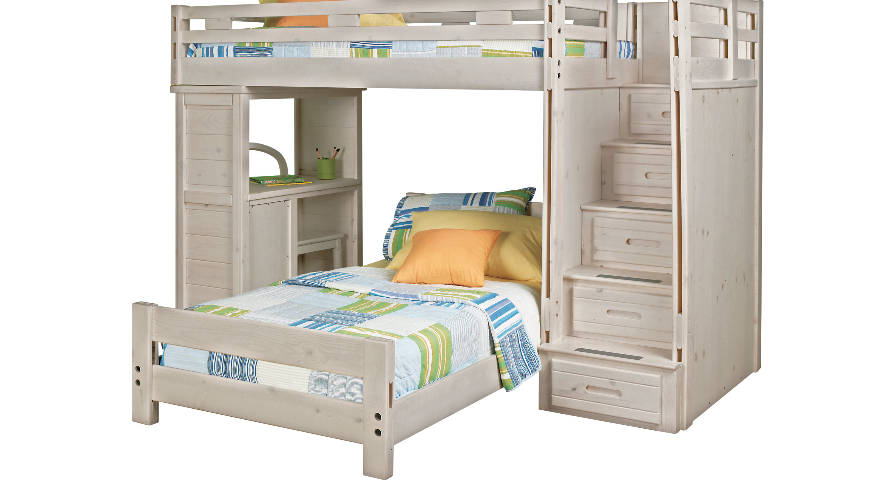 Creekside Stone Beige Wash Gray Twin Twin Step Bunk Bed With Desk Bunk Desk