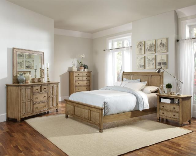 Queen Platform Bed with Sleigh Headboard and Woven Rattan Detail