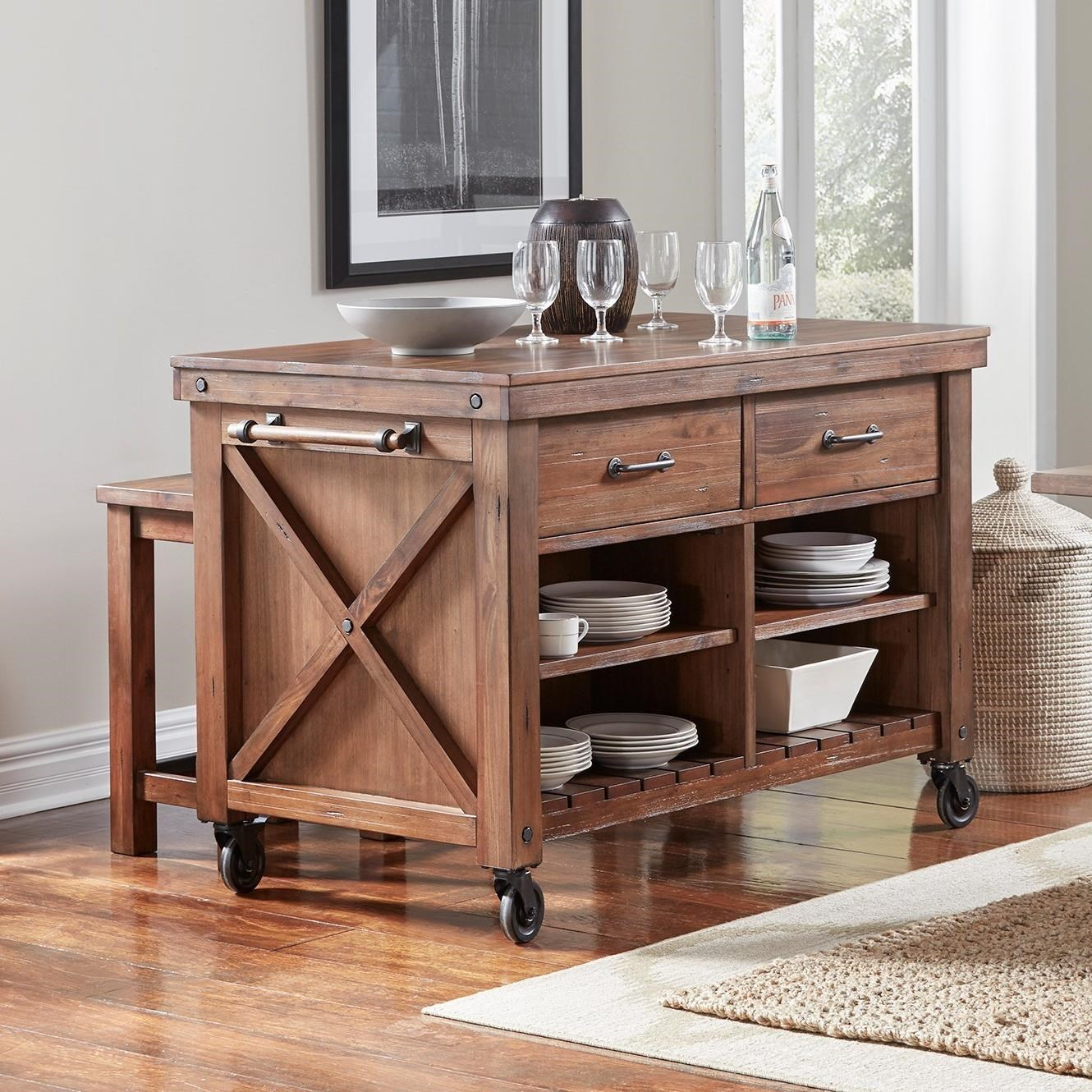 Aamerica Anacortes Kitchen Island With Wood Top And