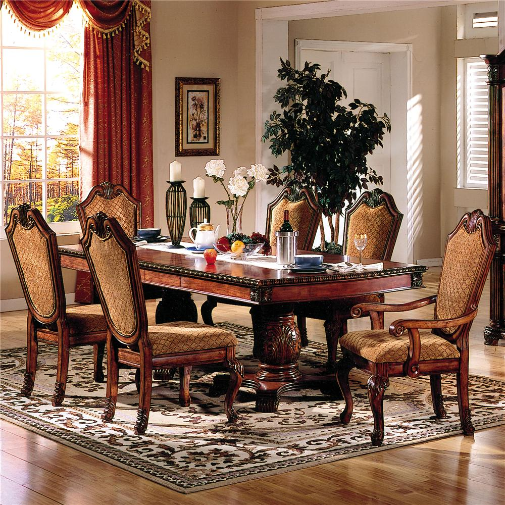 Acme Furniture Chateau De Ville 7 Piece Formal Dining Set With Fabric Upholstered Chairs Del