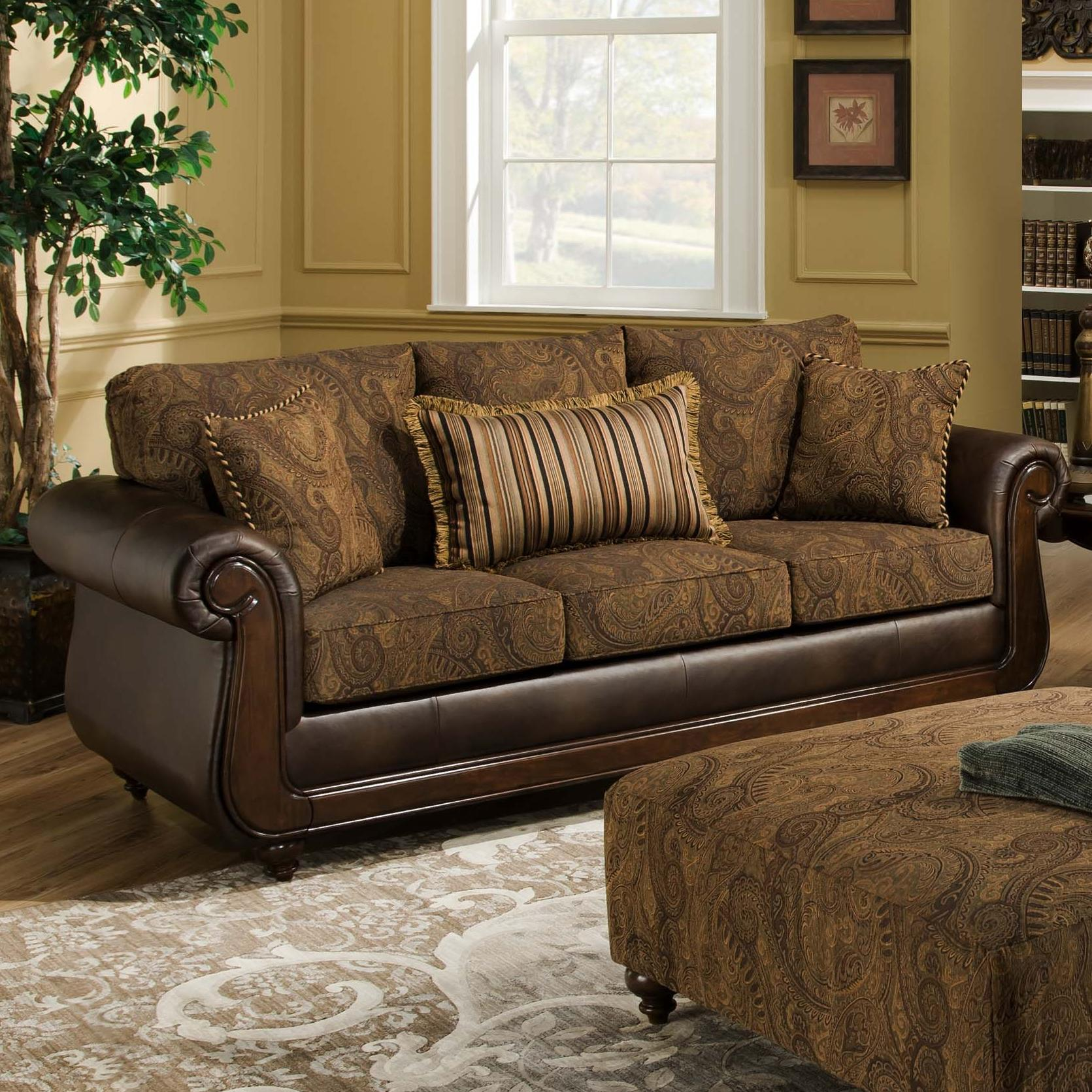 American Furniture 5850 Sofa With Exposed Wood In Classic Style Miskelly Furniture Sofa