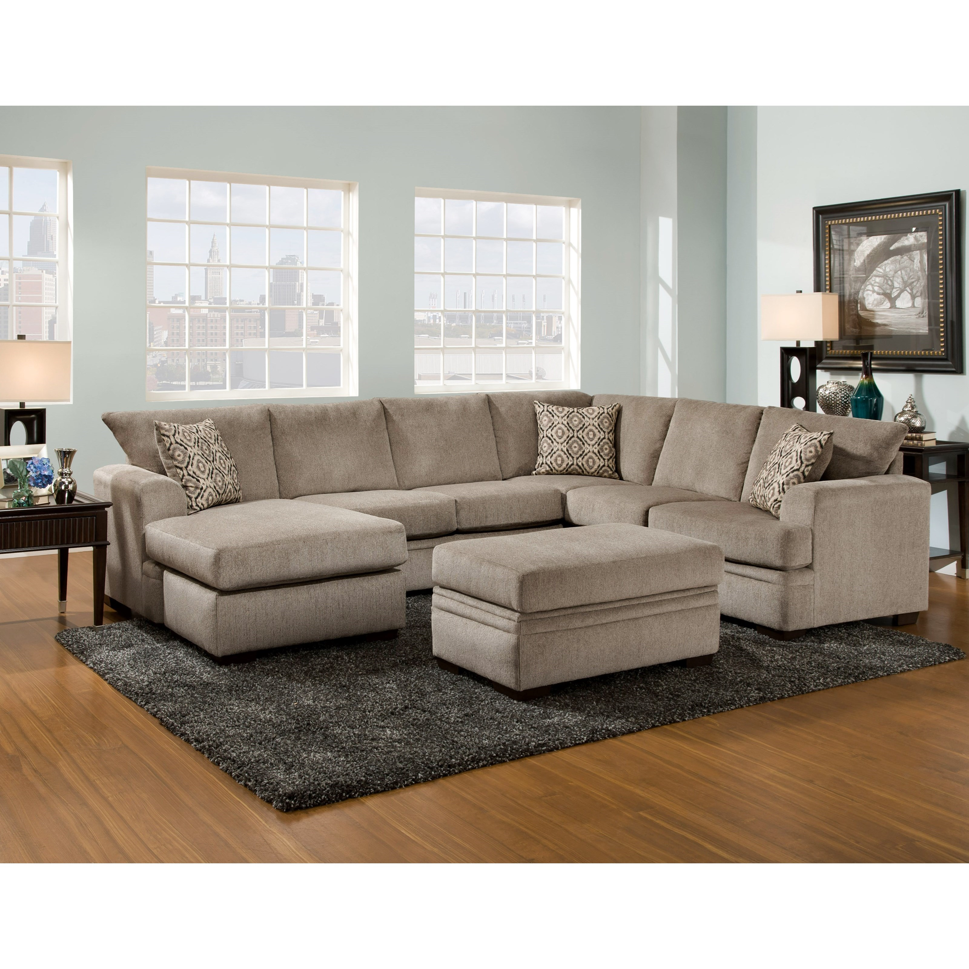American Furniture 6800 Sectional Sofa With Left Side Chaise Prime Brothers Furniture