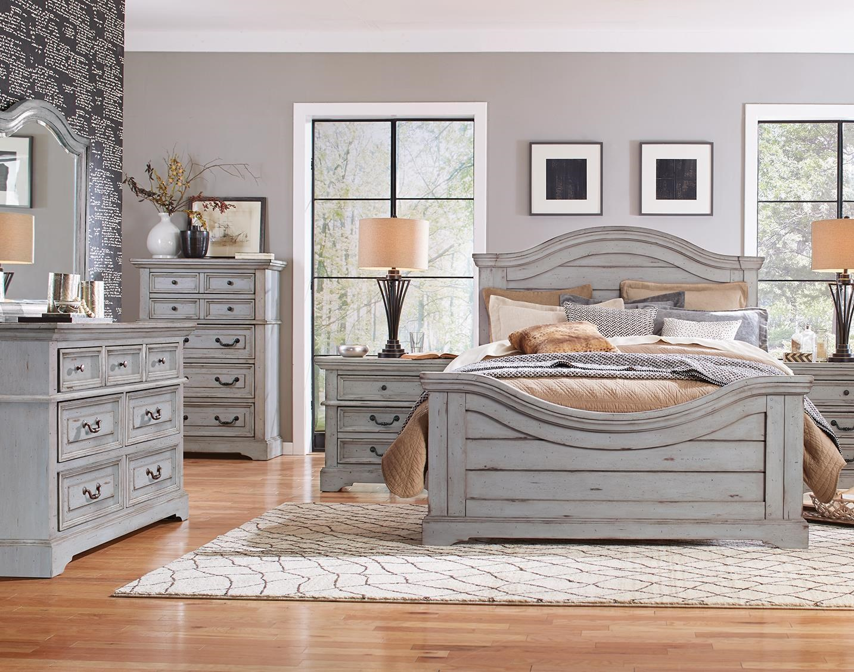 stonebrook in antique gray king panel bed dresser mirror nightstand