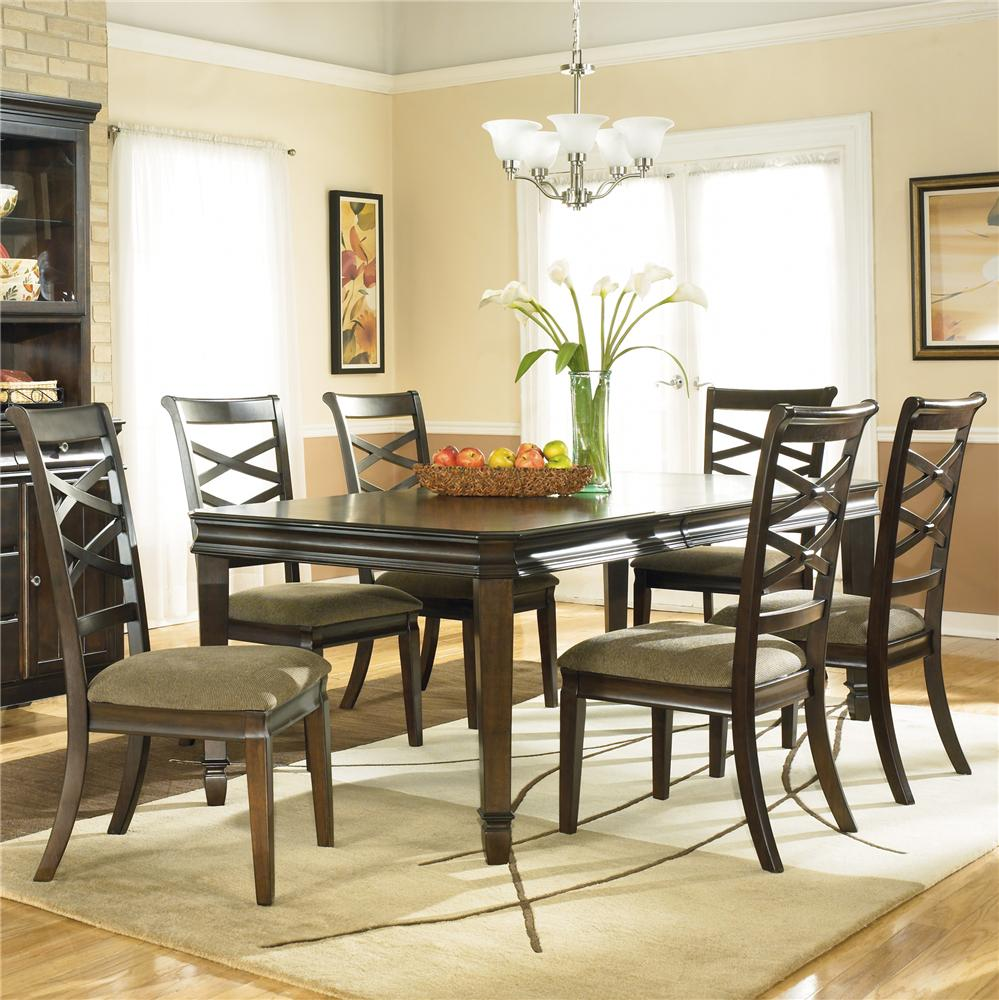 hayley contemporary 7 piece dining set with x back chairs by ashley furniture