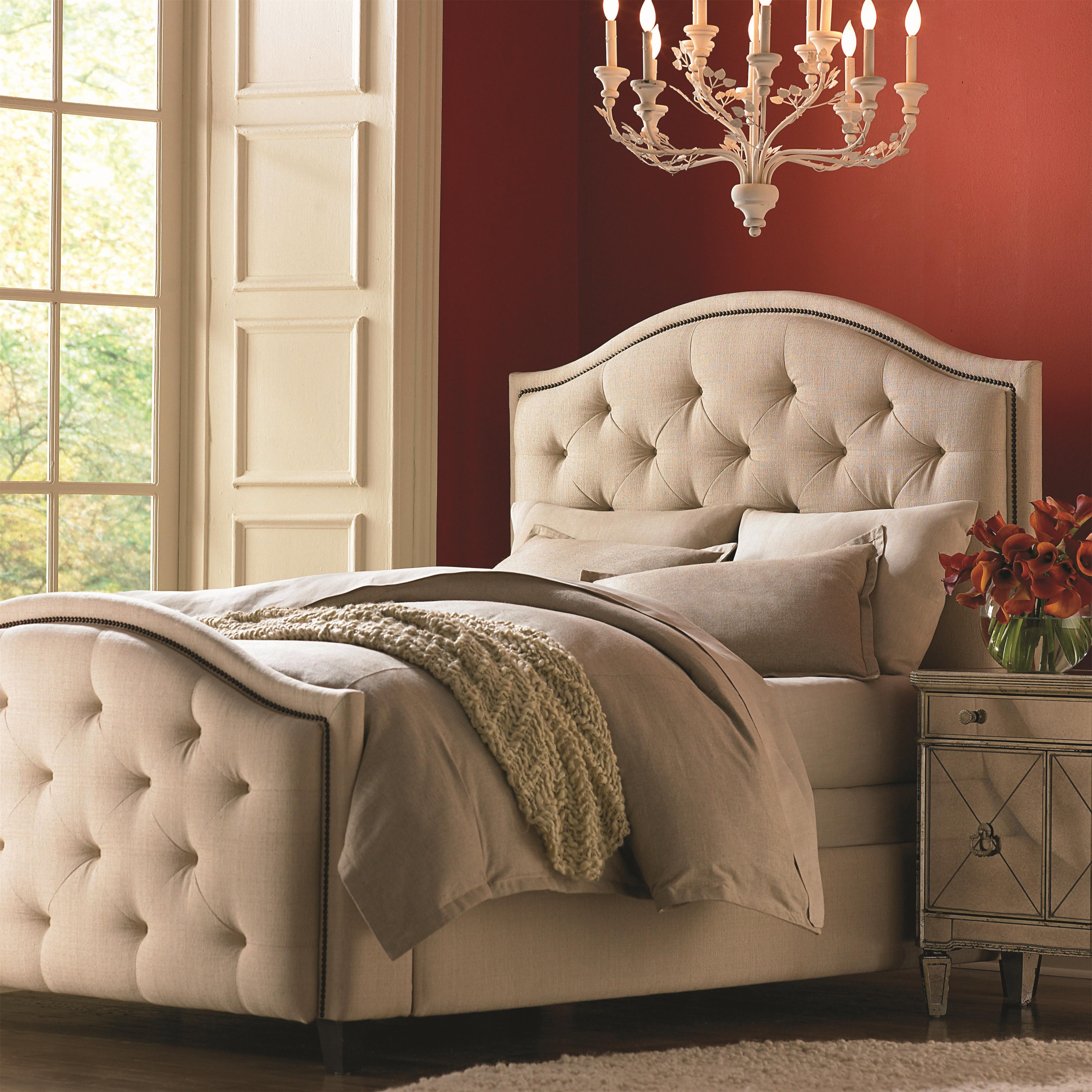 Bassett Custom Upholstered Beds King Vienna Upholstered Headboard And High Footboard Bed Becker Furniture Upholstered Beds