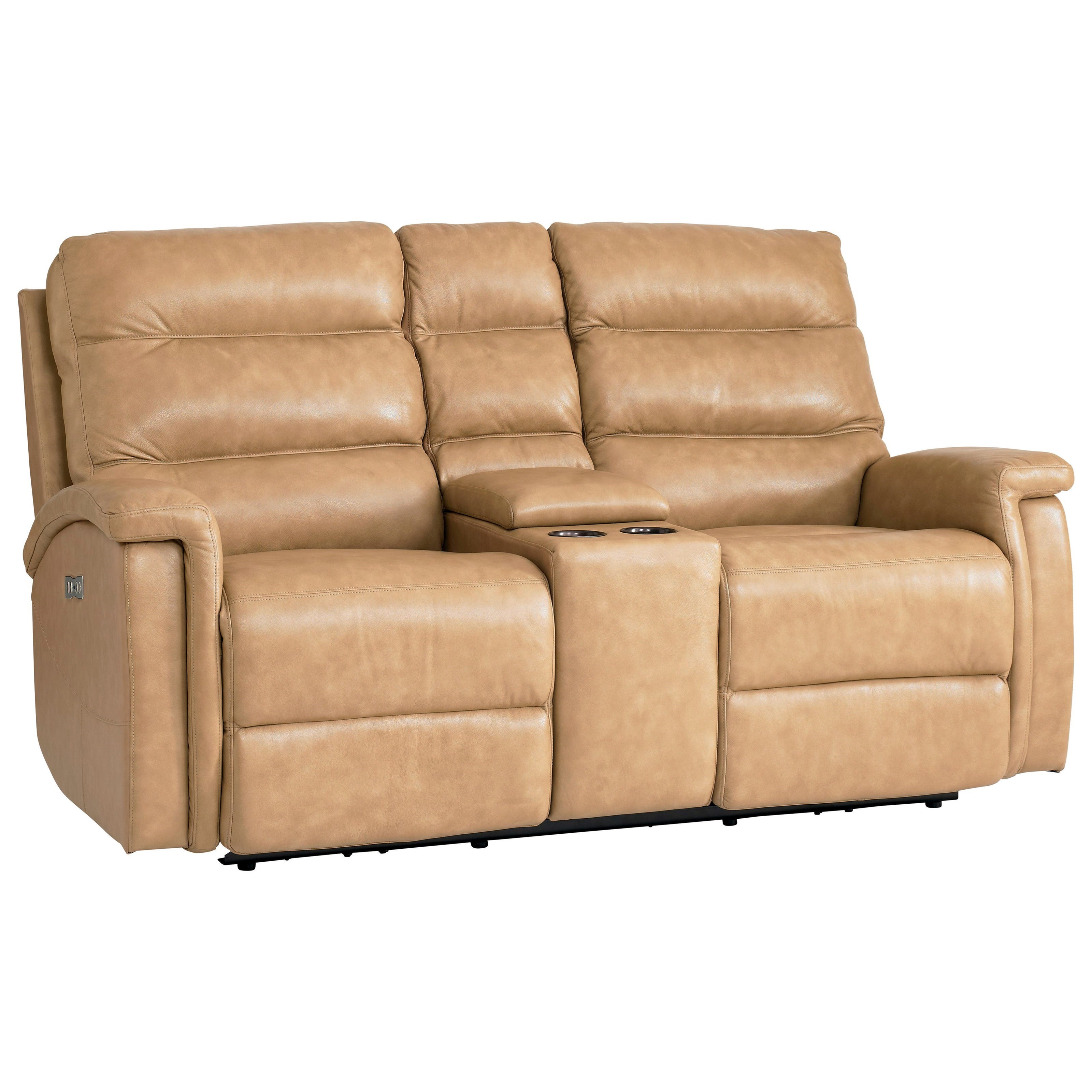 Bassett Regency Club Level Leather Match Power Motion Loveseat With Power Adjustable Headrests And Console Adcock Furniture Reclining Love Seats