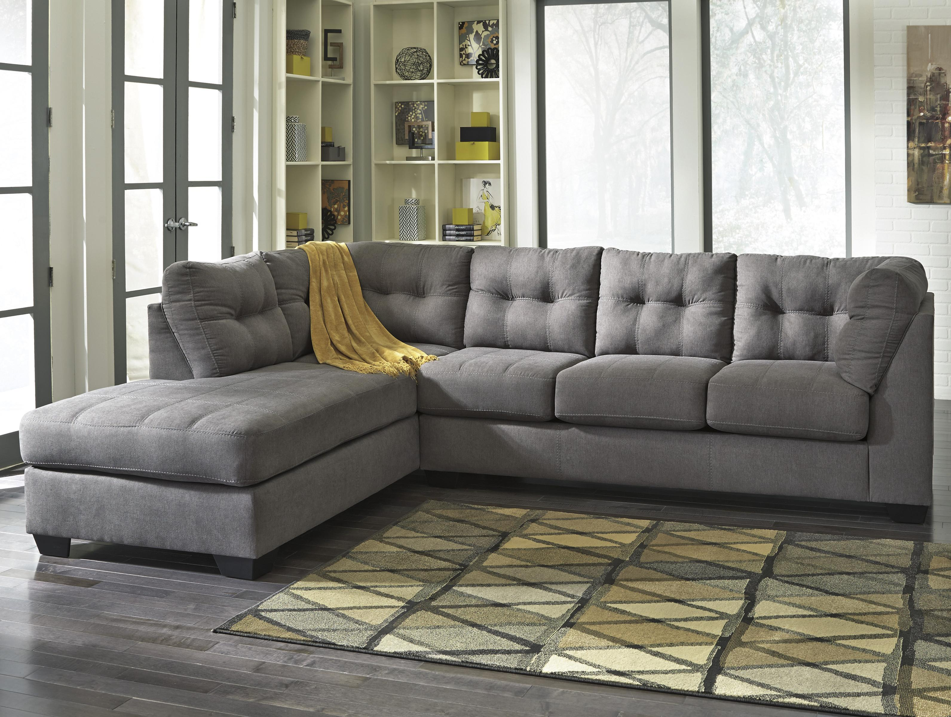 maier charcoal 2 piece sectional w sleeper chaise