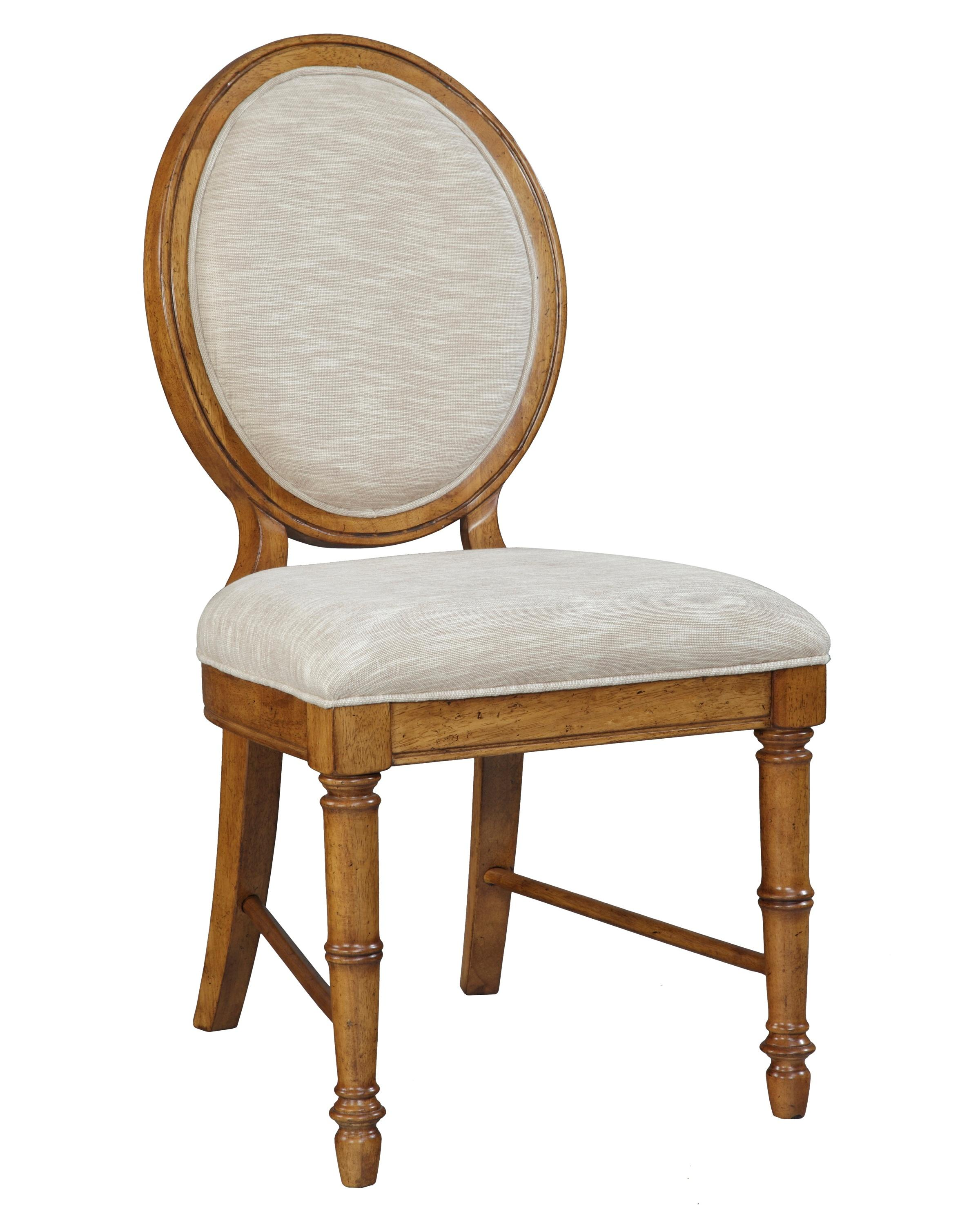 samana cove upholstered dining side chair with round bamboo back by broyhill furniture