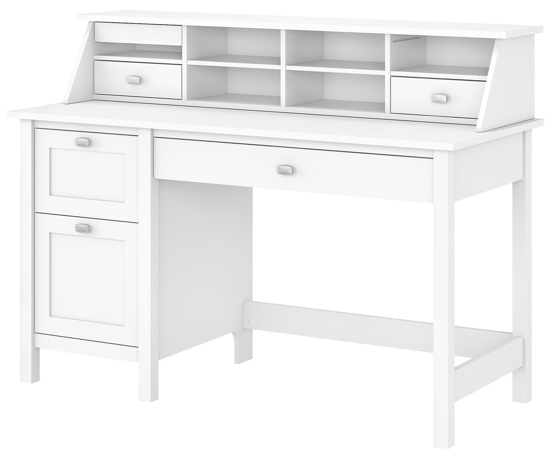 Bush Broadview Computer Desk With 2 Drawer Pedestal And Organizer Value City Furniture Single Pedestal Desks