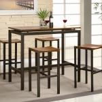 Coaster Atlus Counter Height Contemporary Black Metal Table With Warm Oak Top And 4 Stools Value City Furniture Pub Table And Stool Sets