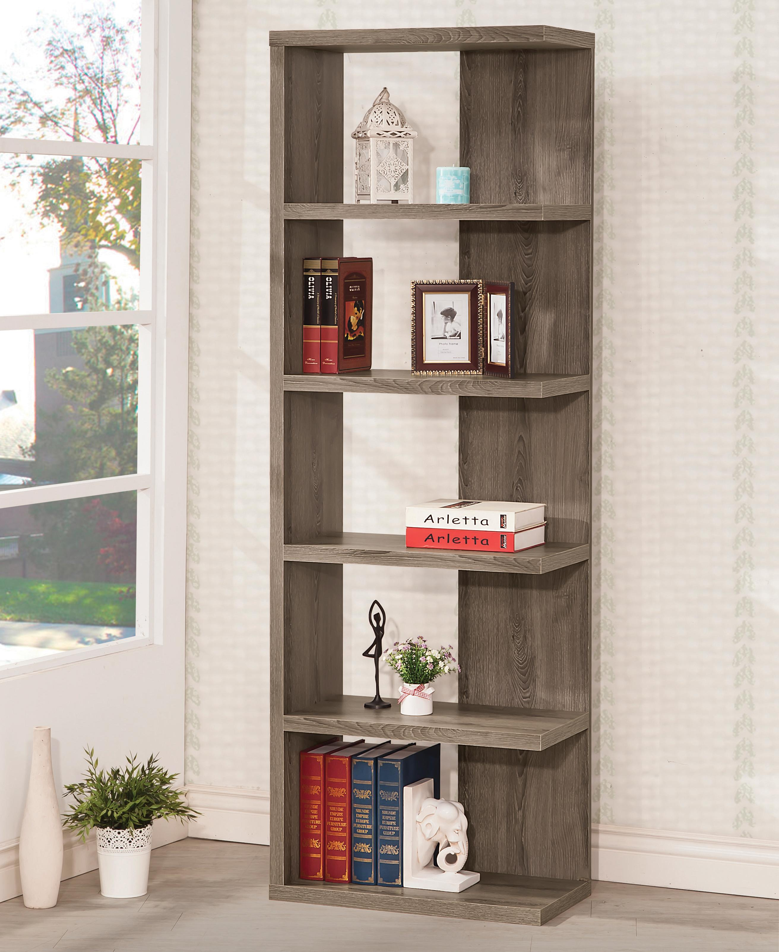 Coaster Bookcases 800553 Weathered Grey Semi Backless