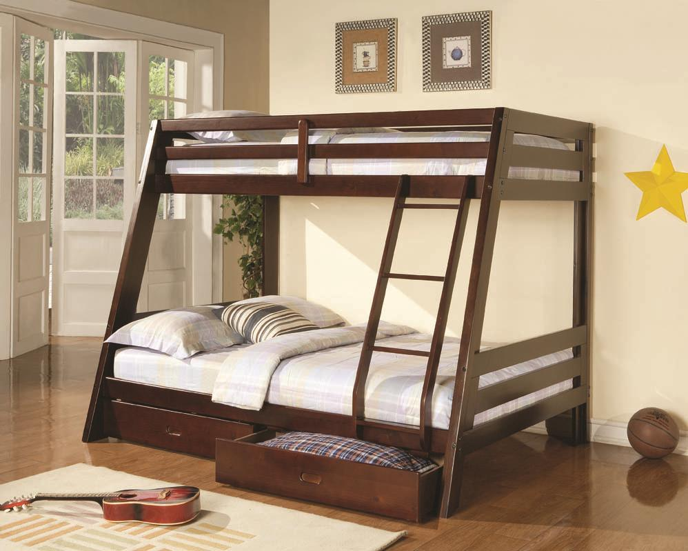 Coaster Bunks 460228 Twin Over Full Bunk Bed With 2