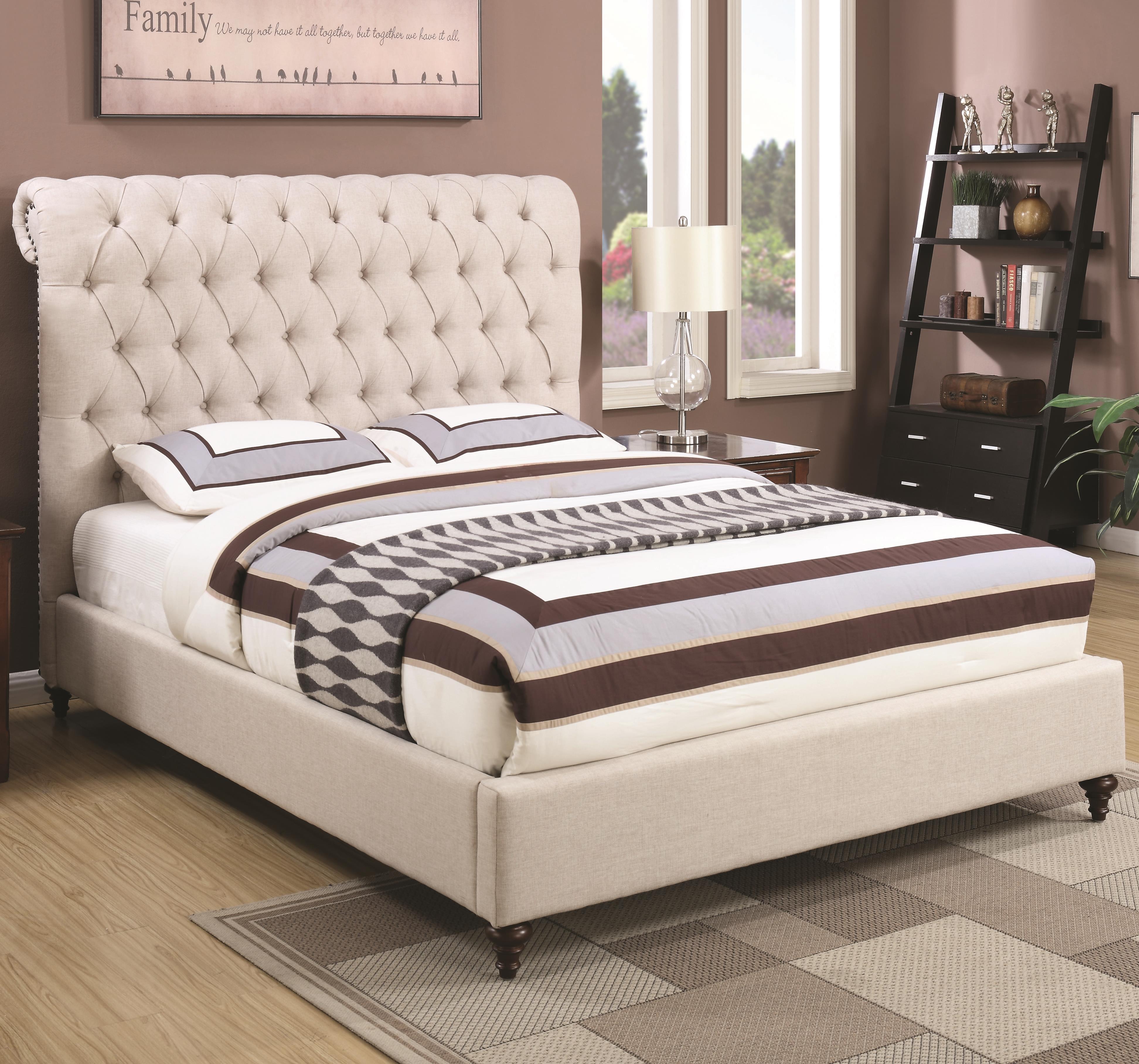 devon california king upholstered bed