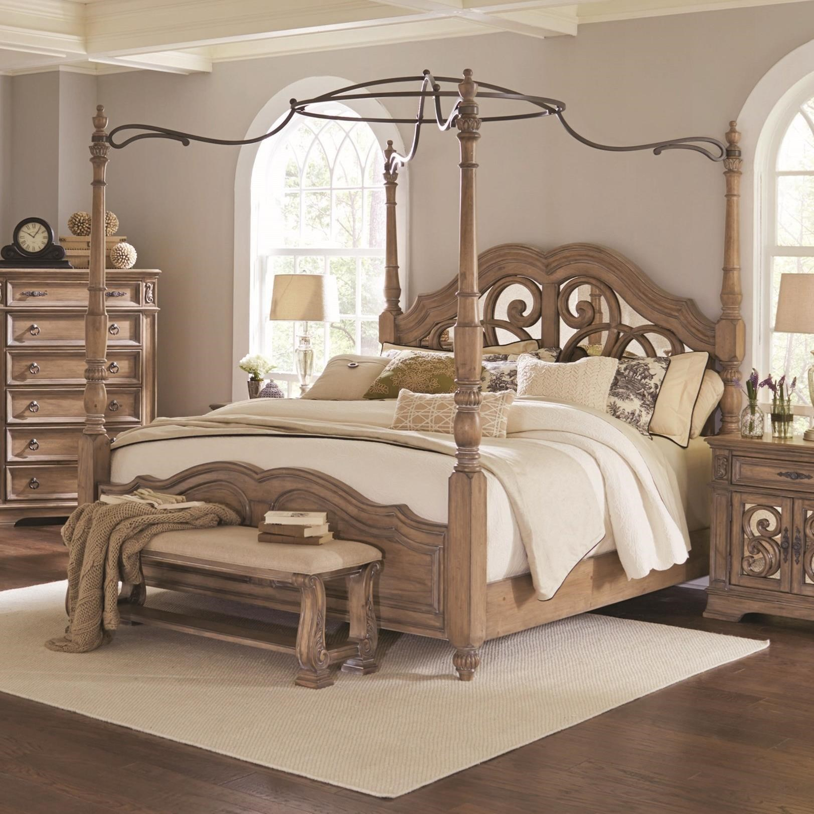 Coaster Ilana California King Canopy Bed With Mirror Back