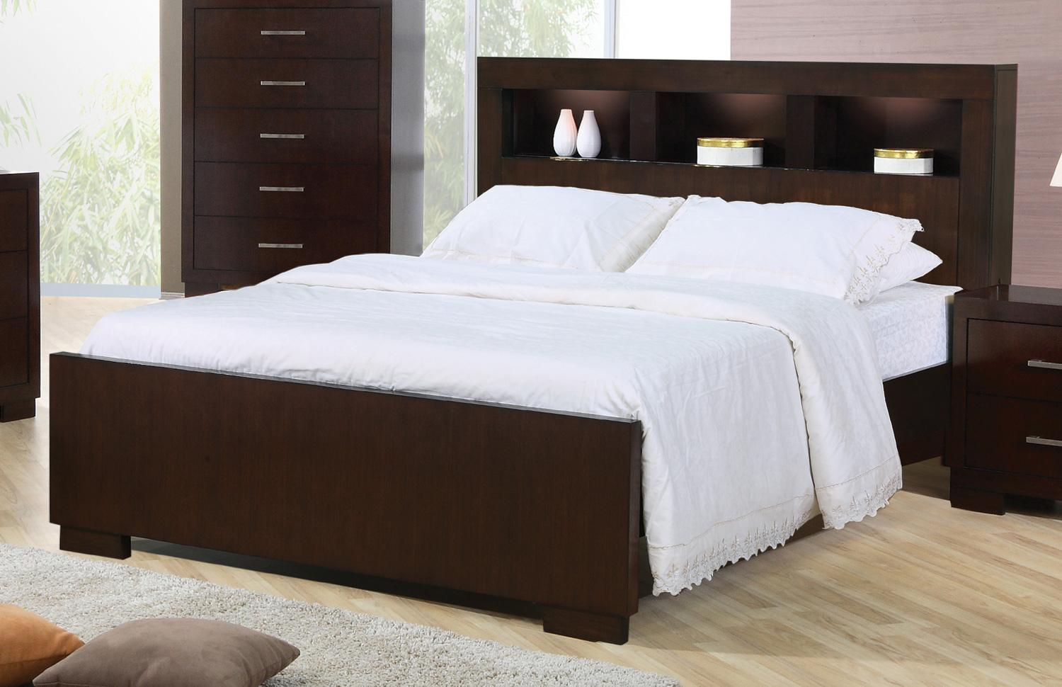 Coaster Jessica 200719ke King Contemporary Bed With Storage Headboard And Built In Lighting Miller Home Bookcase Beds