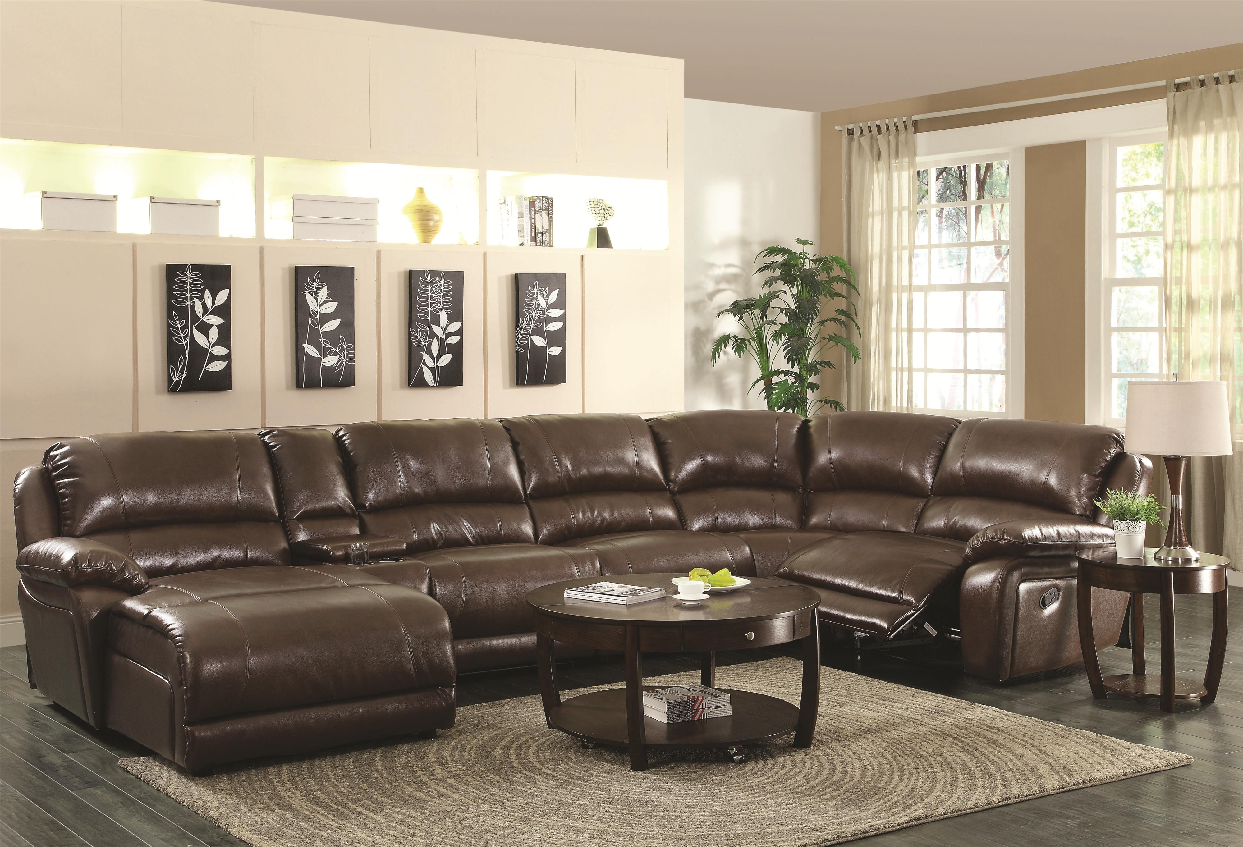 mackenzie chestnut 6 piece sectional