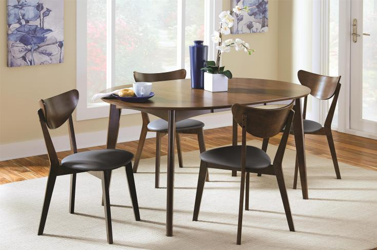 coaster malone mid-century modern 5-piece solid wood dining set
