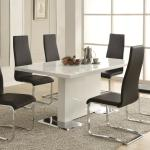 Coaster Modern Dining 7 Piece White Table Black Upholstered Chairs Set Furniture Superstore Rochester Mn Dining 7 Or More Piece Sets