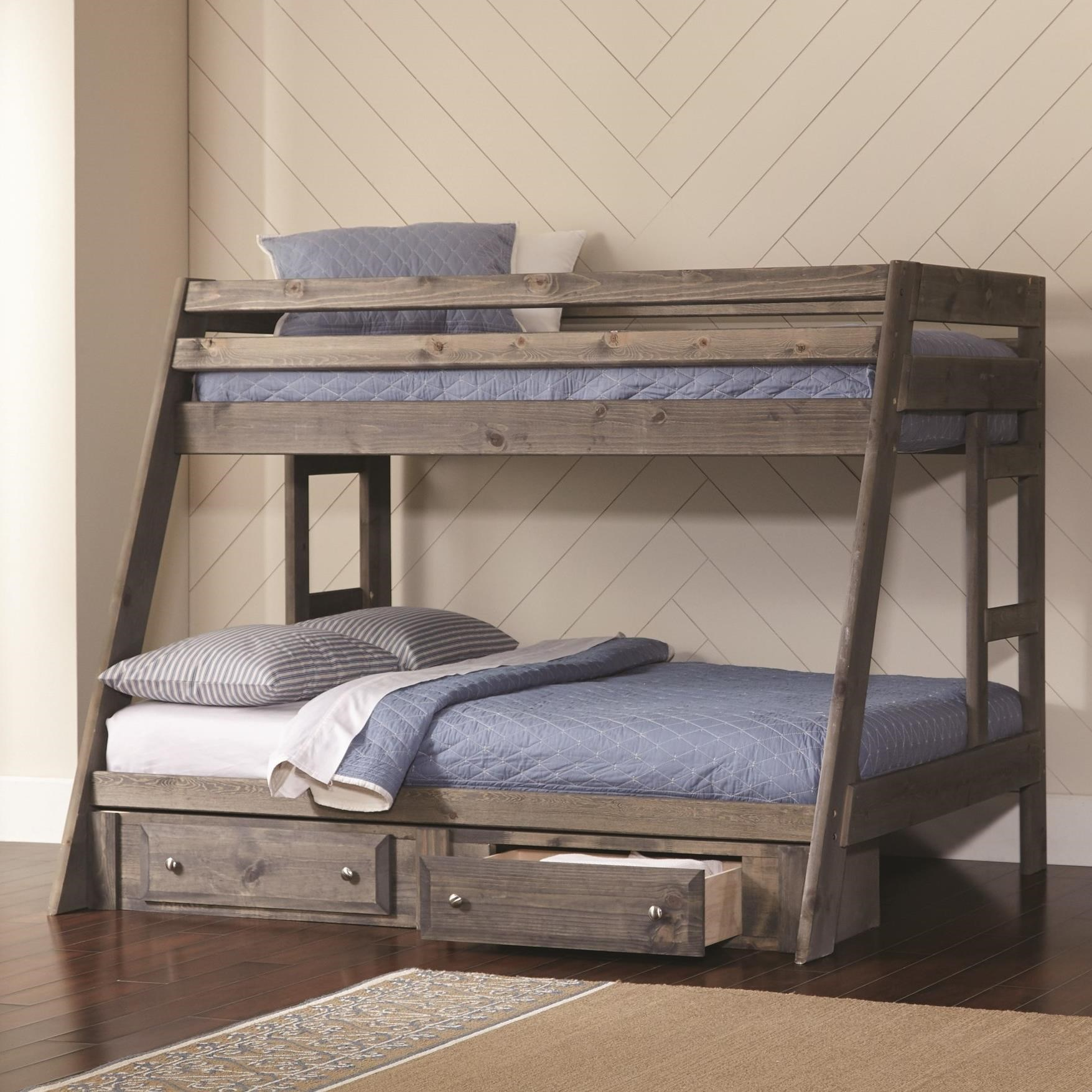 Coaster Wrangle Hill Twin Over Full Bunk Bed With Built In Ladder A1 Furniture Mattress Bunk Beds