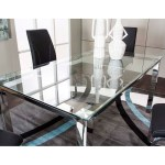 Cramco Inc Skyline Glass Top Dining Table With Chrome Base Value City Furniture Dining Tables