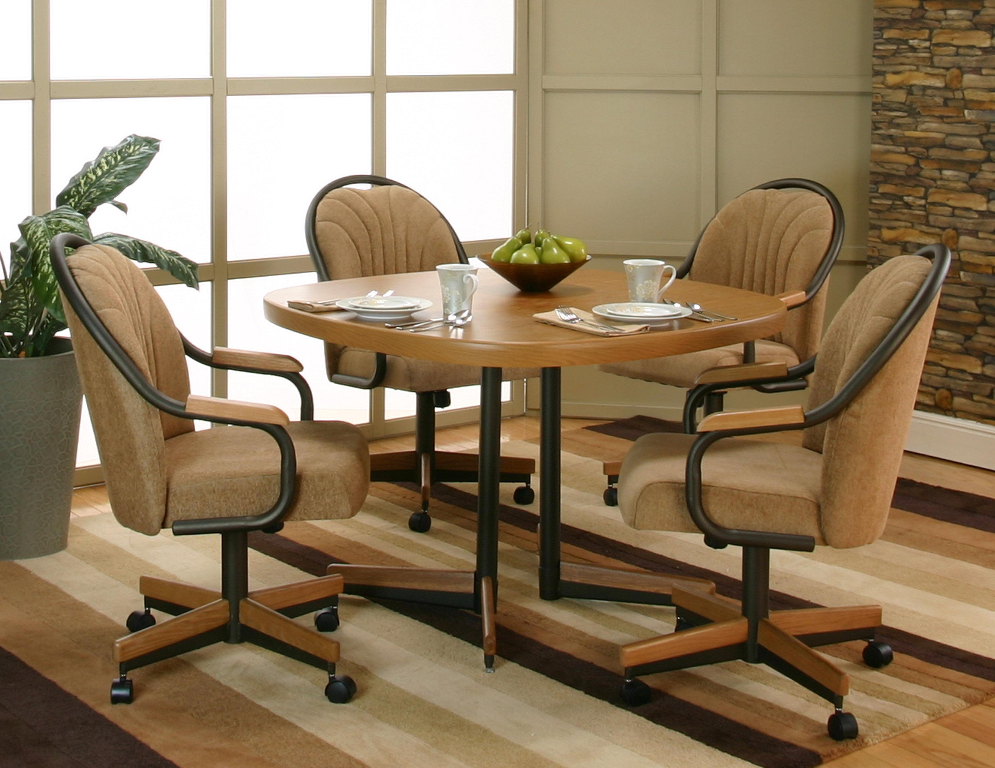 Cramco Inc Shaw Casual Sunset Oak Finished Dining Table With 4 Chenille Upholstered Tilt Swivel Arm Chairs Corner Furniture Dining 5 Piece Set