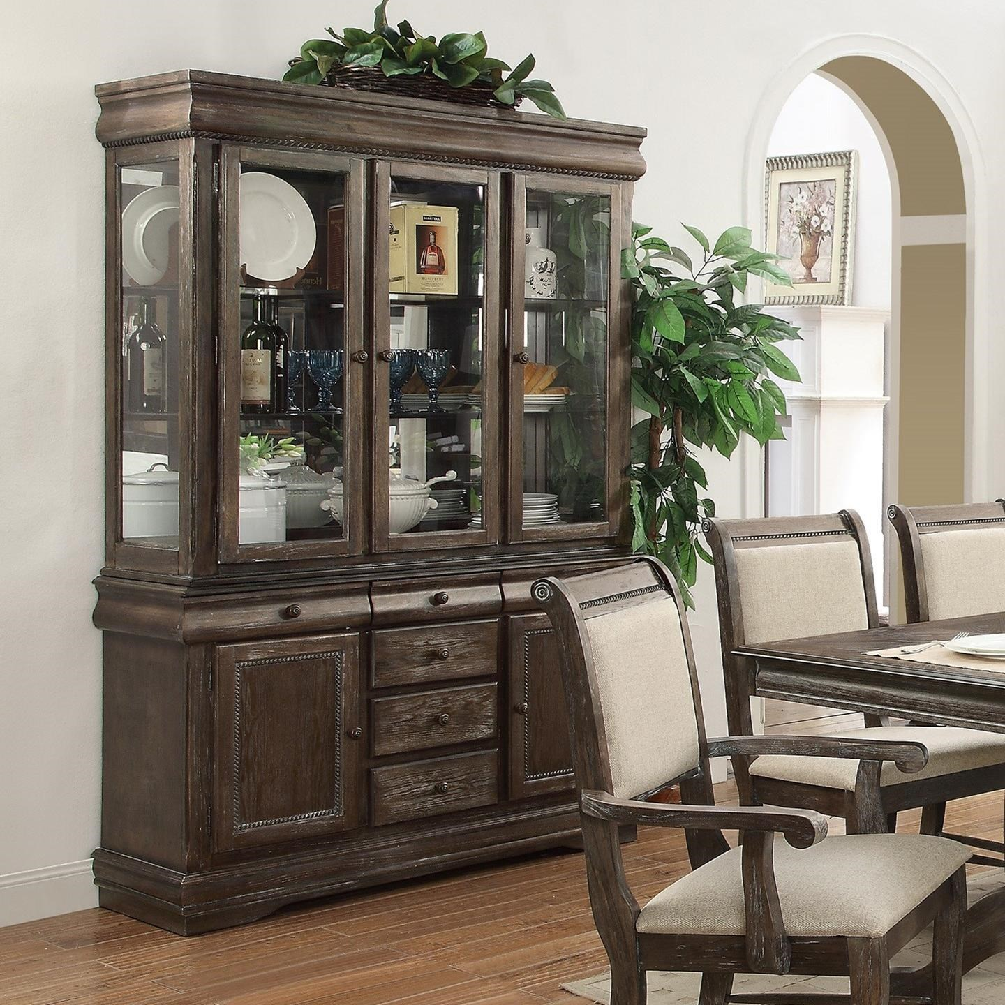 Buffet And Hutch With Three Glass Doors Merlot By Crown