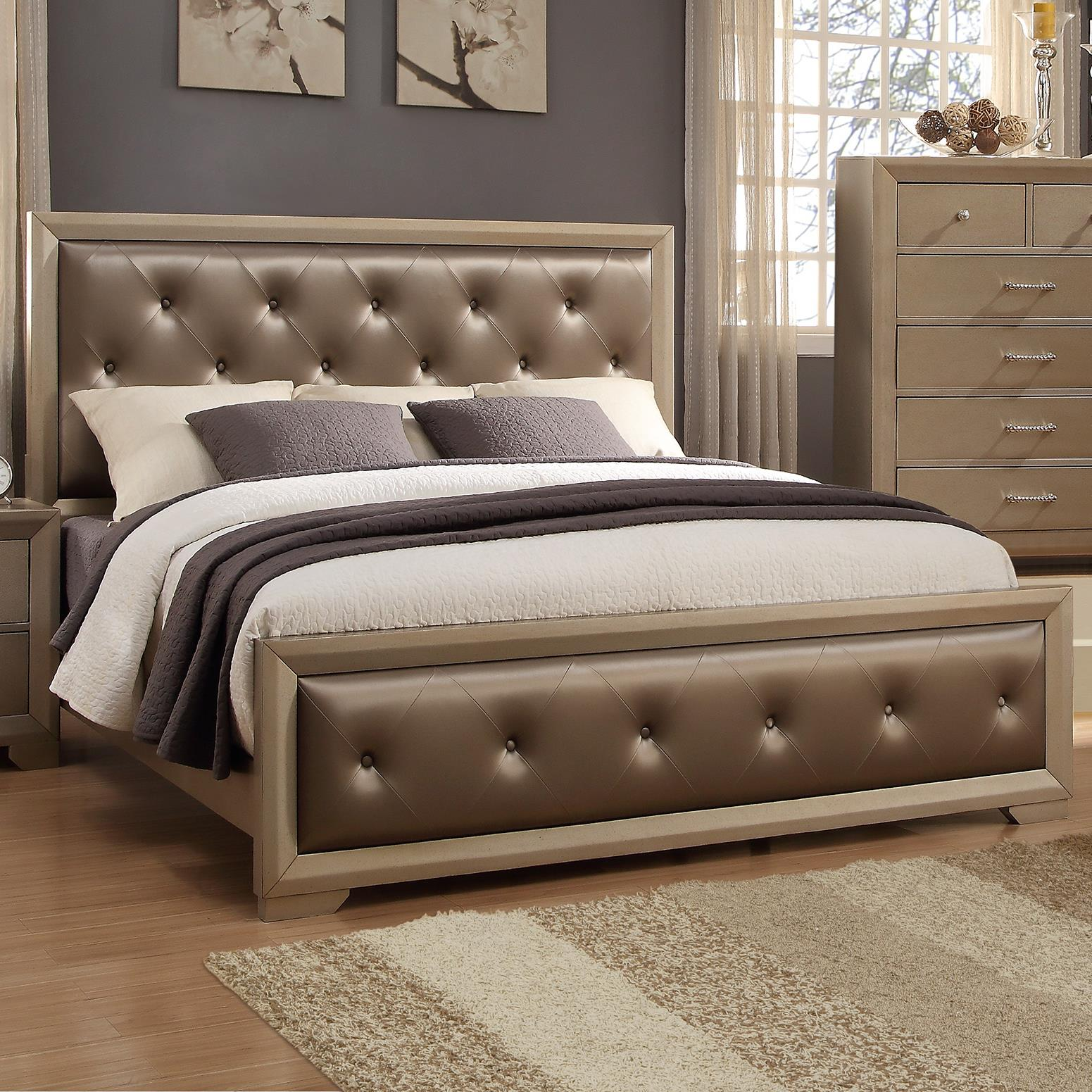 Crown Mark Fontaine California King Upholstered Bed With