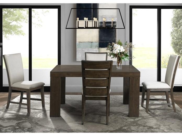 Elements International Grady Contemporary Dining Table Set With 4 Slat Backchairs Johnny Janosik Dining 5 Piece Sets